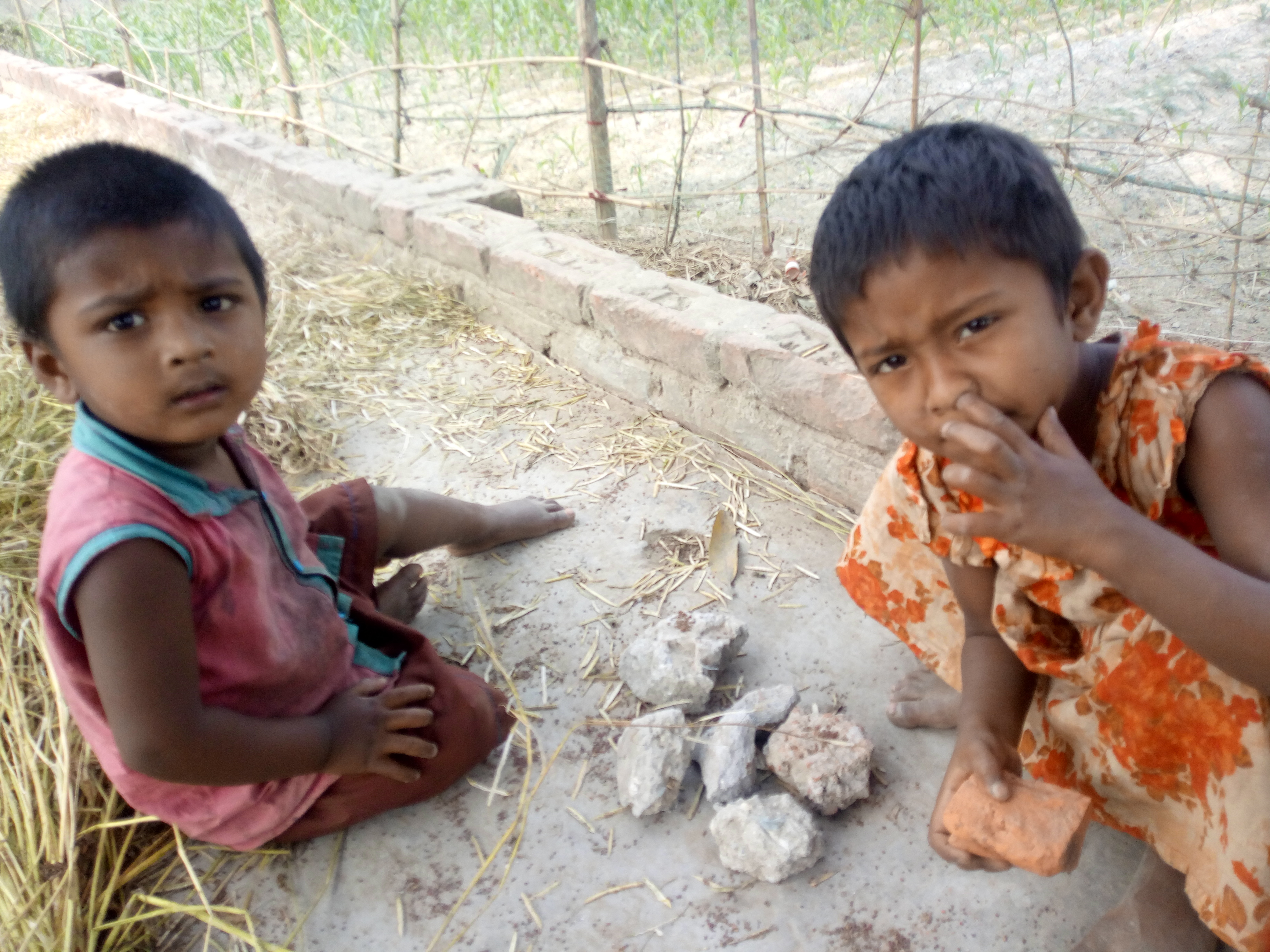 "Rural children's  are  Playing bangla words ""Ranna Bati"" means Family Cooking."