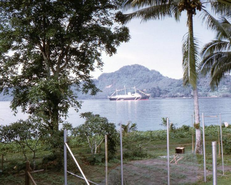 View from my room of RY Britannia in Kieta Bay