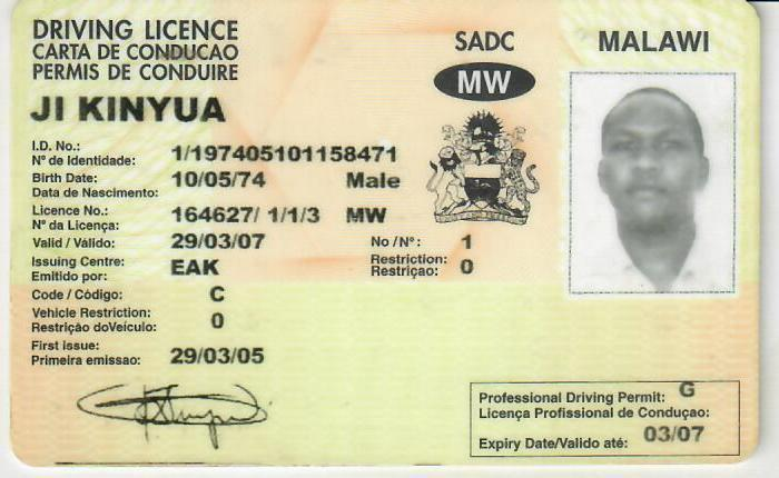 My Driving Licence in Malawi