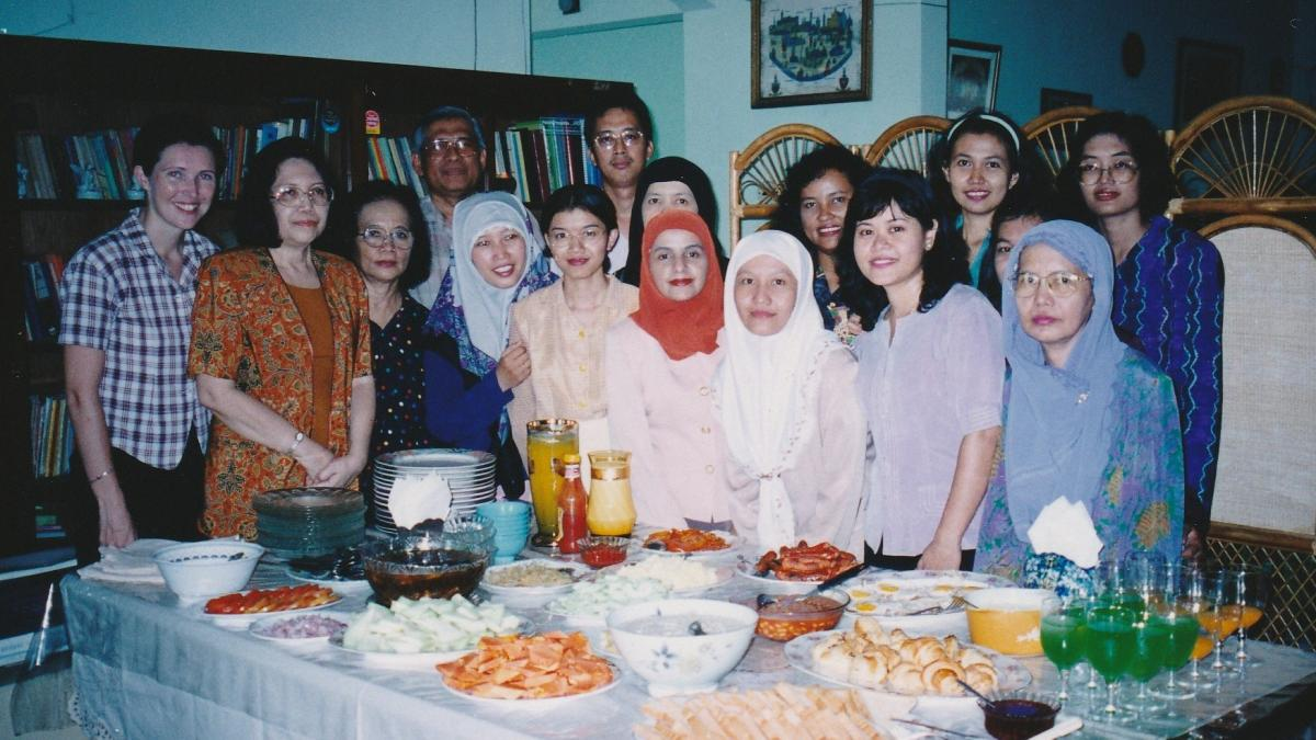 Me (left hand side) with members of the university staff English class who have prepared an English breakfast 'Indonesian' style.