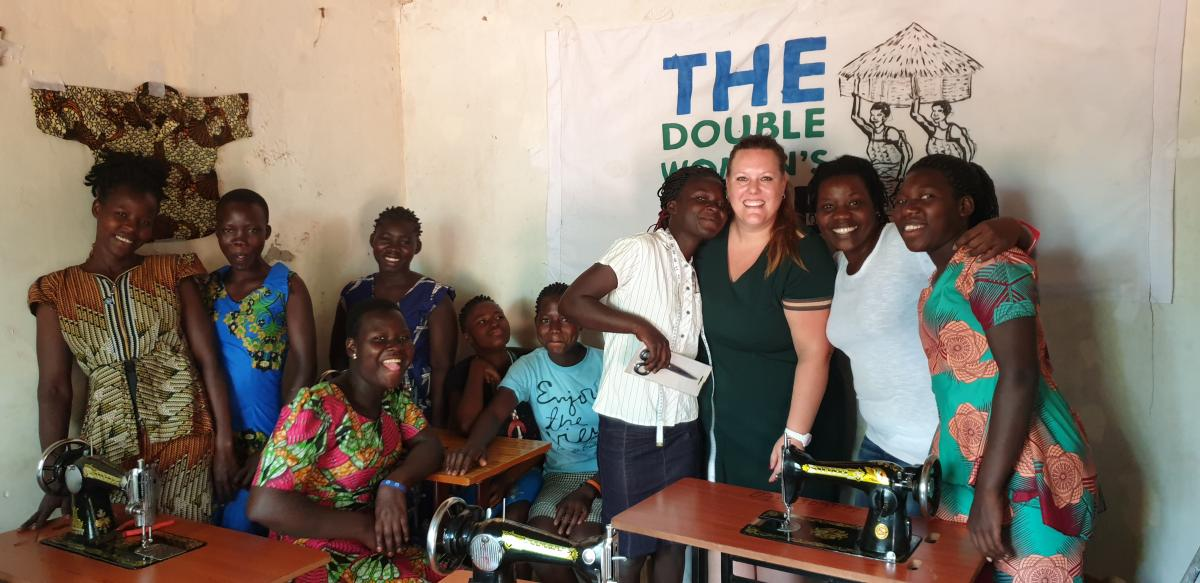 Visiting micro enterprise The Double Woman and the students in Tailoring