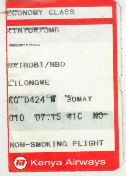 My ticket of my departure to Malawi via KQ on 30 May 2004